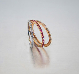 Ring Gold Brillanten Rubine