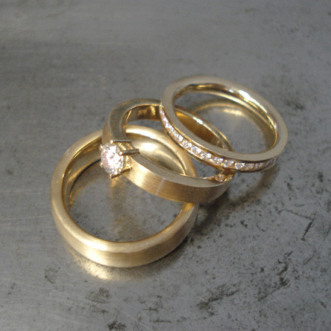 Trauringe Set, Paarringe, Eheringe, Partnerringe, Diamantring Gold Brillanten