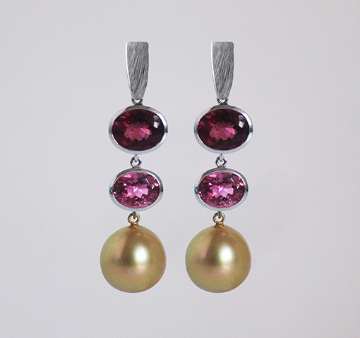 Ohrhänger Turmalin Perle Gold