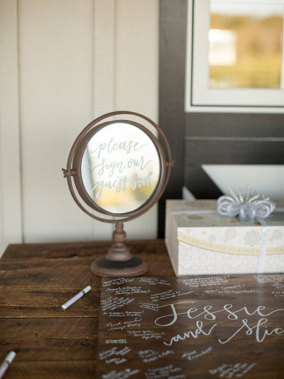 Bronze Mirror Guestbook Sign