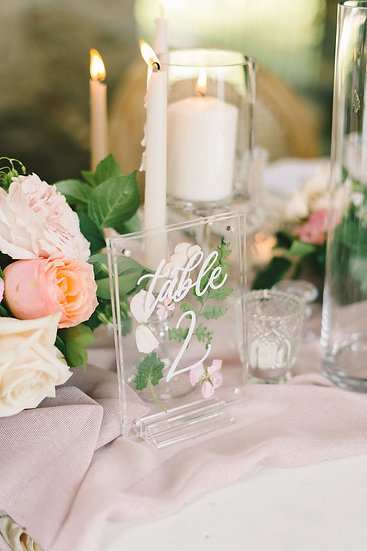 Acrylic Pressed Flower Table Numbers