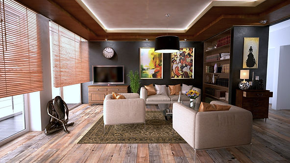 Wood Blinds - Modern Living Room Dark Co