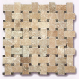 Tresse Travertin Beige & Cabochons Marbre Vert Théos 30.5x30x1