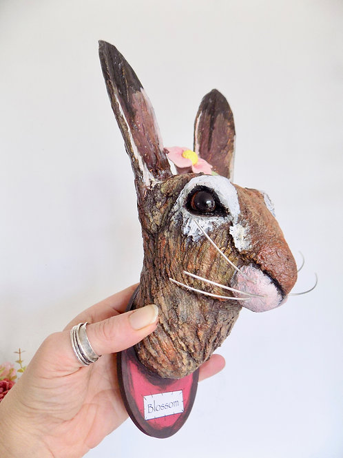 Hare head sculpture, mixed media trophy hare head wall hanging by Victoria Colem