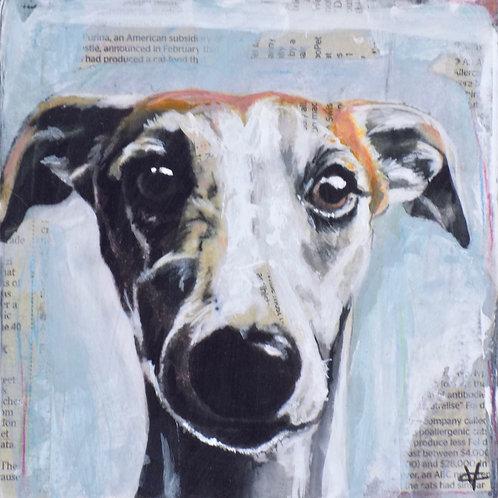 Mixed media greyhound painting