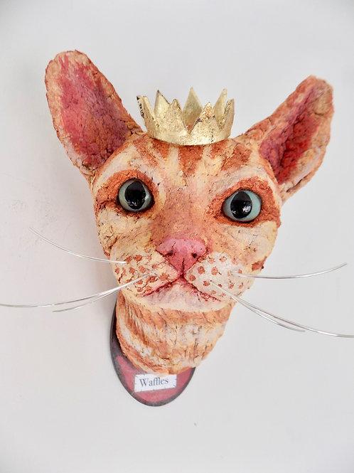 Waffles the cat sculpture