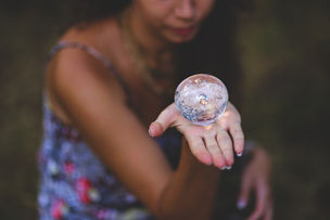 Woman holding a crystal