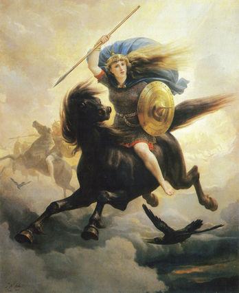 Valkyrie riding a horse