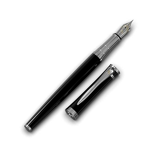 Midnight Black Luxury Fountain Pen by Wordsworth with Deluxe Gift Pouch