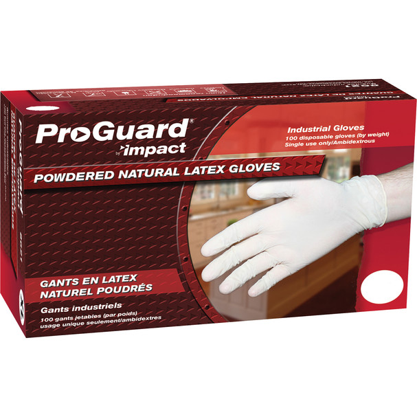 $10.63 BX – ProGuard Disposable Latex Powdered Gloves - Large Size - Latex -