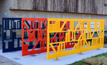 Artist Designed Bike Rack: Shelves