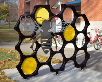 Artist Designed Bike Rack: Bee Cycle