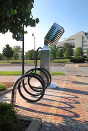 Artist Designed Bike Rack: Microphone