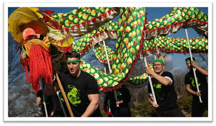 Image is of five people walking in a curved line, each holding a pole that supports one large Chinese dragon puppet.