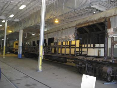 Railcar Exterior During Refurbishment.
