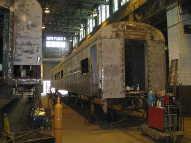 Railcar Exterior During Refurbishment