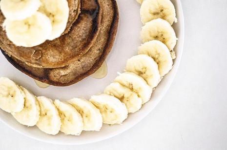 @kojahealth pancakes topped with banana