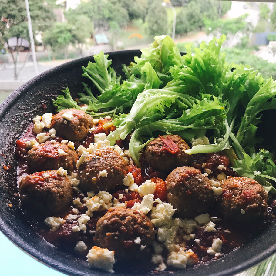 Keto Meal: Beef Meatballs with Heirloom Beef Tomatoes