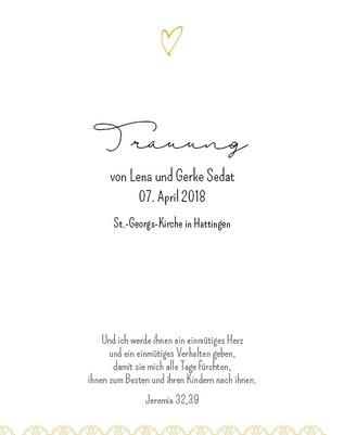 Liedblatt zur kirchlichen Trauung