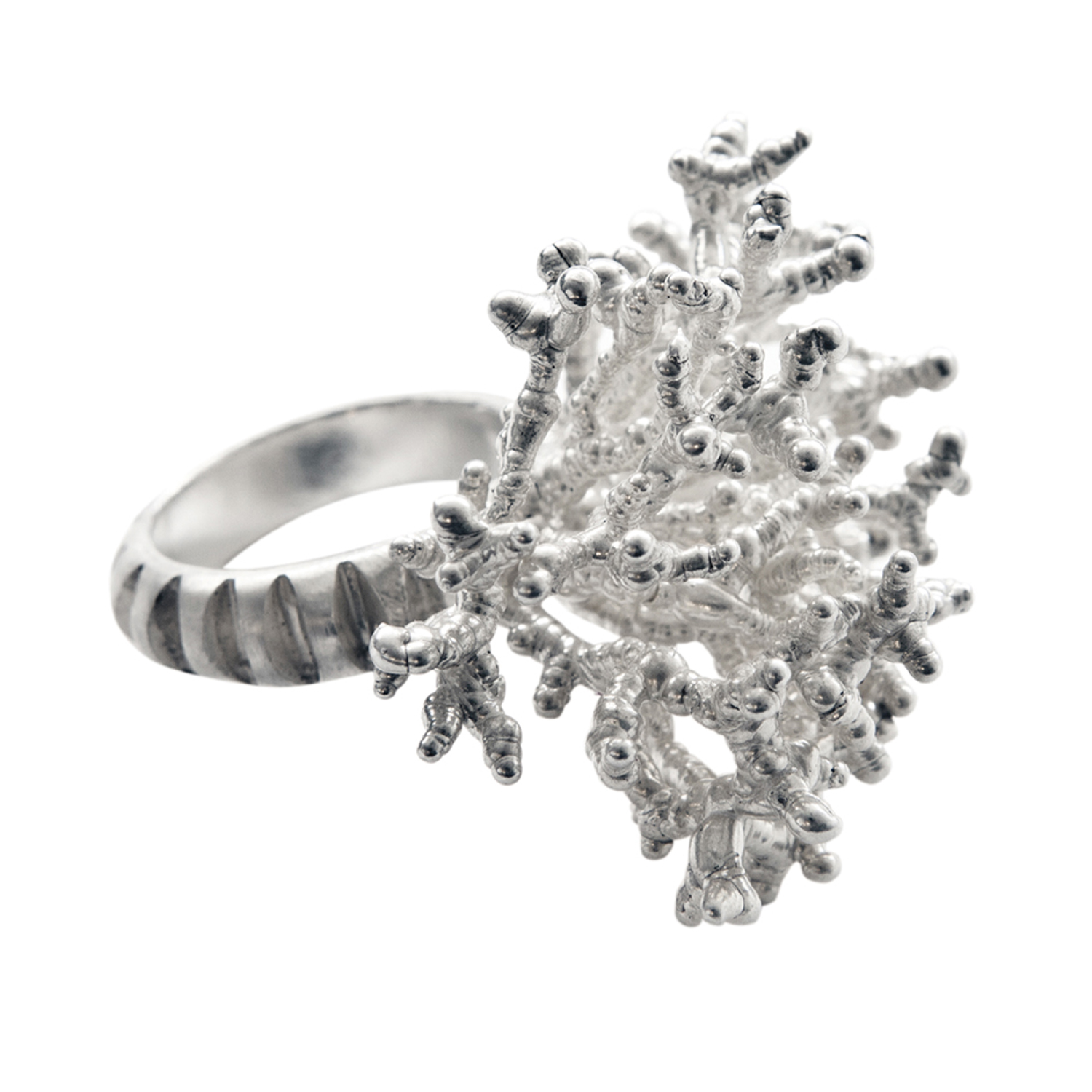 Silver Coral Coctail Ring