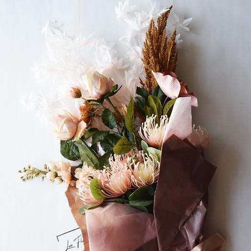Artificial Flower Bouquet | Peach Pampas