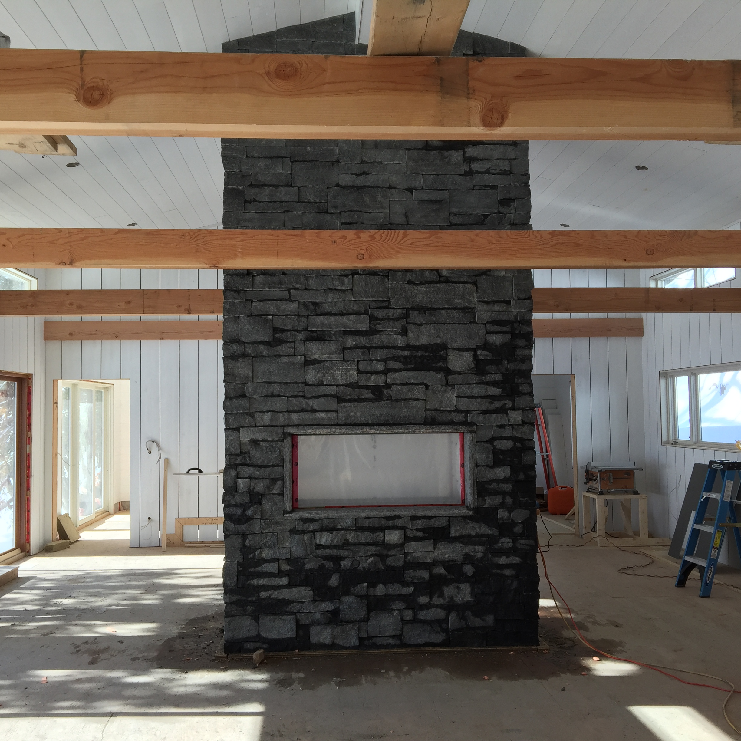 Granite dry stack fireplace