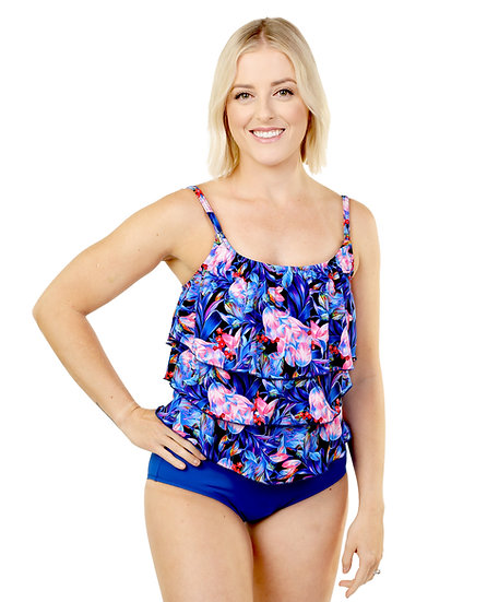 T.H.E Three Tiered One Piece 943 - Floral Blue (760)