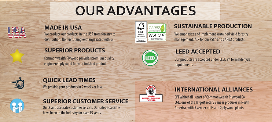 Advantages of Commonwealth Plywood. Made in USA, Sustainable production, Superior products, Leed Accepted, Quick Times, International
