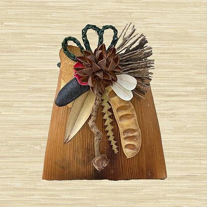 Manila Palm Basket w/Kahili Flower seed pods $85