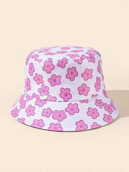 Flowered Graphic Denim Hat
