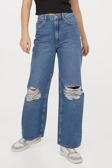 Klingnau Distressed Wide-Leg Jeans