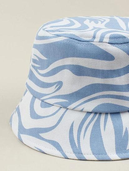 Swirled Graphic Denim Bucket Hat