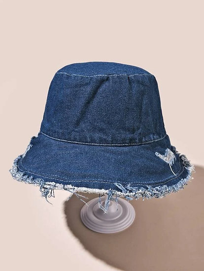 Frayed Bucket Hat Bleu