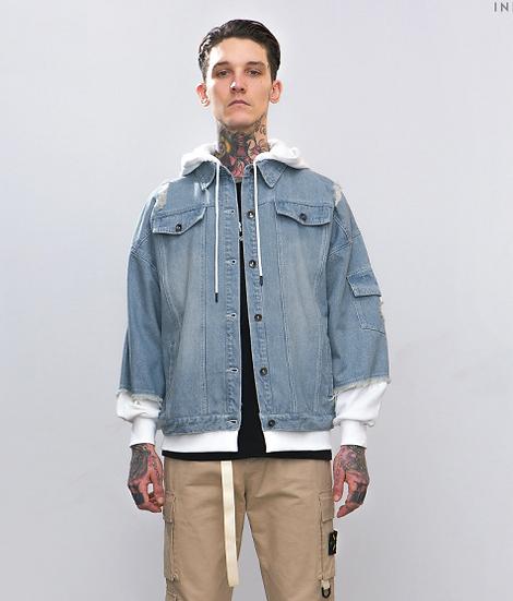 Splicing Hooded Denim Jacket