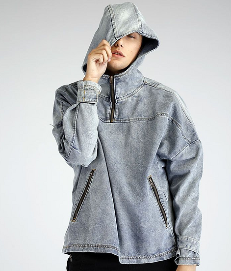 Grey Hooded Denim Jacket