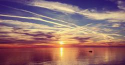 sunset + boat