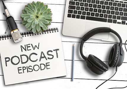 top view of text NEW PODCAST EPISODE on