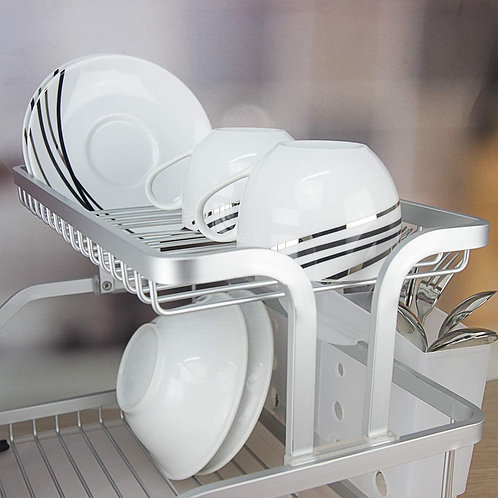 Kitchen Aluminum Frame Tier Dish Drying