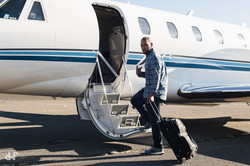 private jet photoshoot on steps