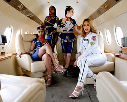 private jet photoshoot flight attendants