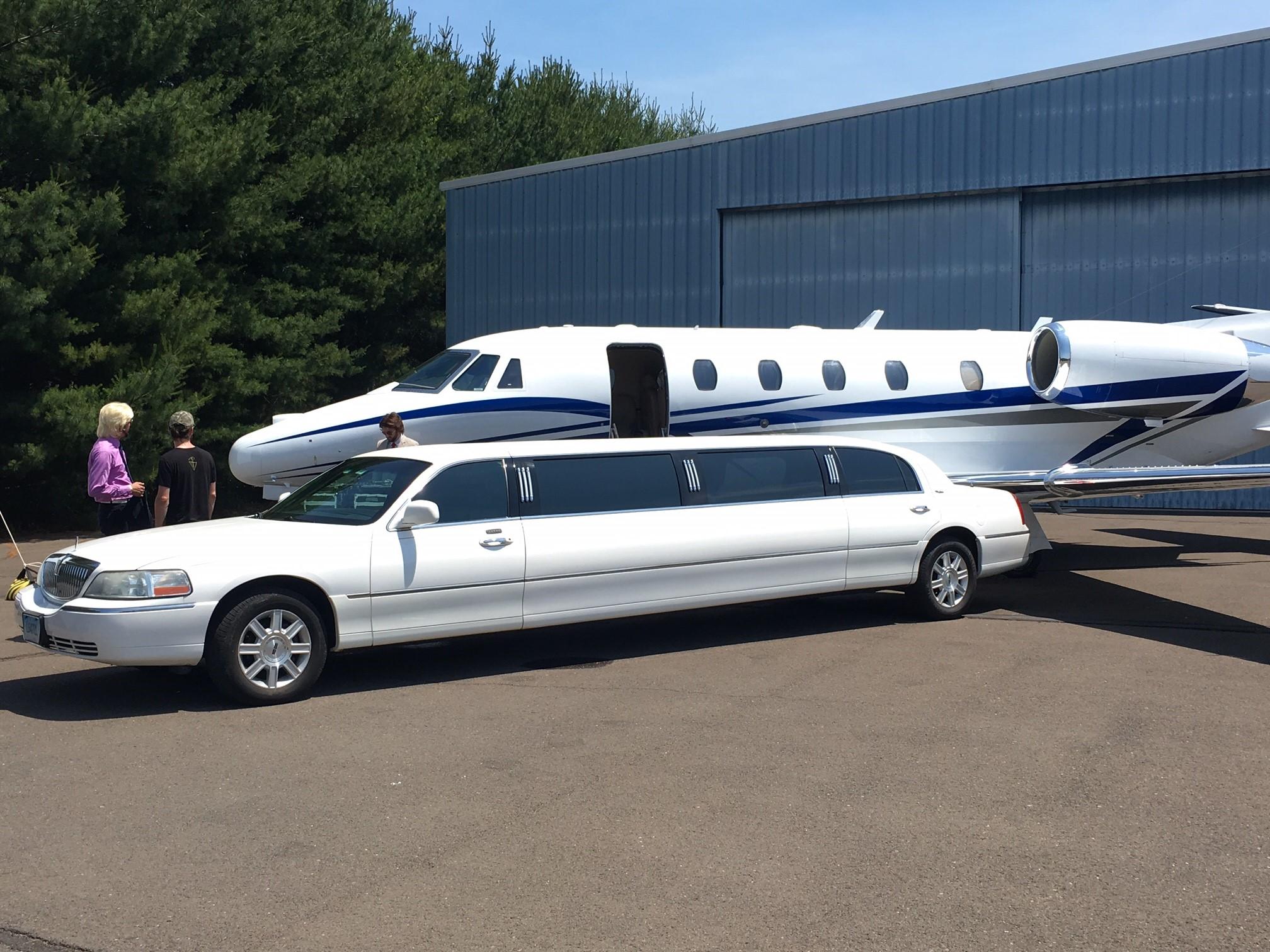private jet photoshoot long limousine