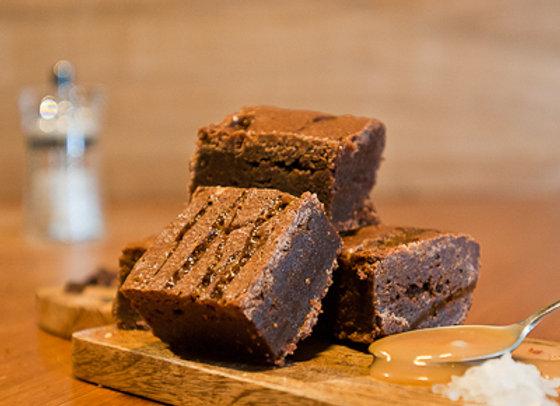 Homemade and Moreish Salted Caramel Chocolate Brownie