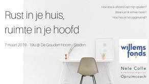 7/3/2019 / 19u - Staden-Roeselare - Rust in je huis, ruimte in je hoofd