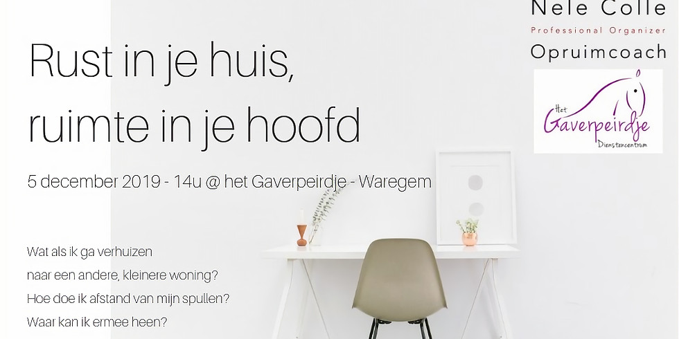 Waregem - Rust in je huis, ruimte in je hoofd - focus kleiner wonen