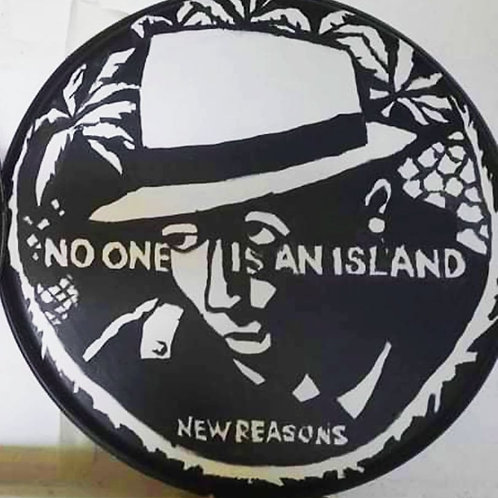 Cliff Grigg original artwork: NEW REASONS Hand-painted drum skin