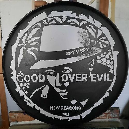 Cliff Grigg original artwork: GOOD OVER EVIL Hand-painted drum skin