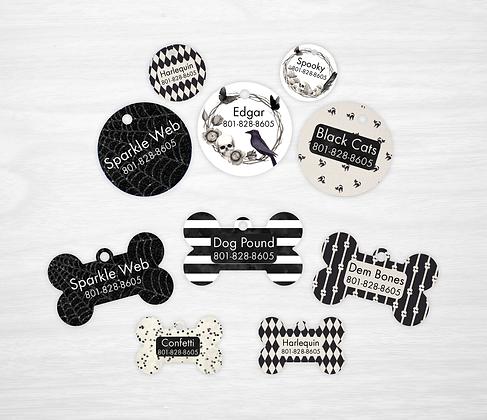 Black Halloween Pet IDs, Dog Tags, Cat Tags