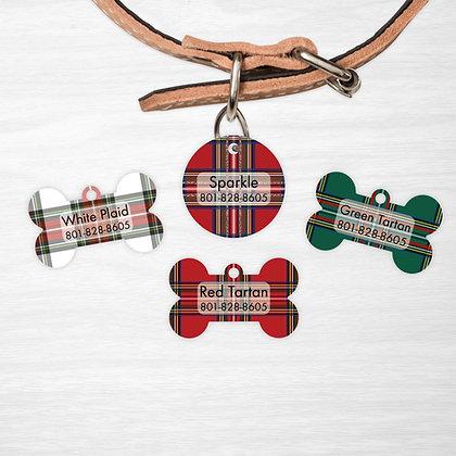 Christmas Plaid Pet IDs, Dog Tags, Cat Tags