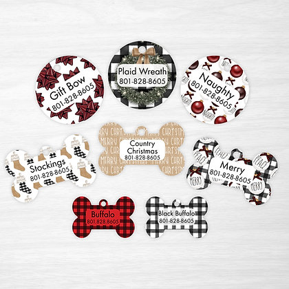 Country Farmhouse Christmas Pet IDs, Dog Tags, Cat Tags