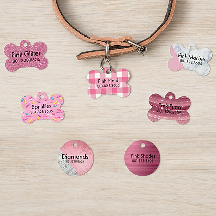 Pretty in Pink Pet IDs, Dog Tags, Cat Tags
